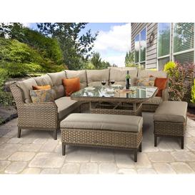 image-Signature Weave Garden Furniture Diana Corner Dining Sofa With Stools