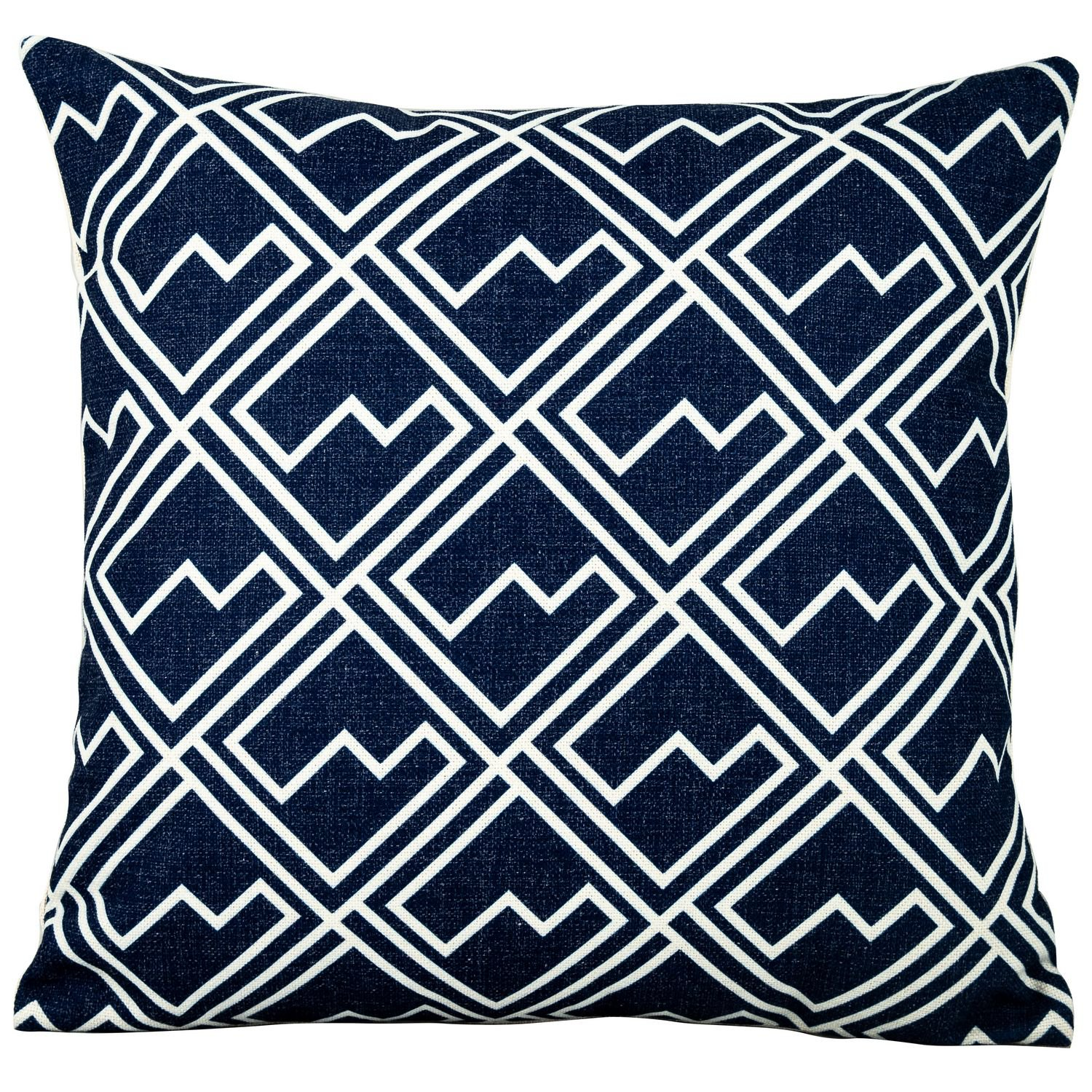 image-Royalcraft Garden White Square Pattern on Blue Scatter Cushion Set of 4