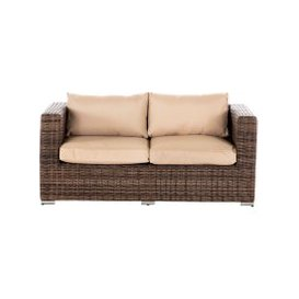 image-Ascot 2 Seat Rattan Garden Sofa in Premium Truffle Brown and Champagne