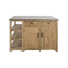 image-Aged Effect Recycled Pine 2-Door 2-Drawer Kitchen Island Aubagne