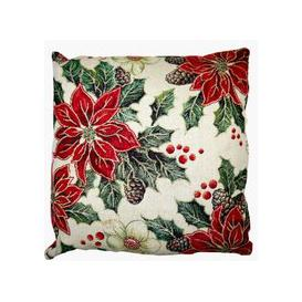 image-Festive Christmas Cushions - Pointsetta 2 for £10