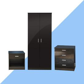 image-Cavin 3 Piece Bedroom Set Hashtag Home Colour: Black