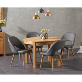 image-Verona 110cm Oak Round Dining Table with Halifax Faux Leather Chairs - Grey, 4 Chairs
