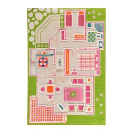 image-IVI World - Children's 3D Play Rug - Green Play House - 100x150cm