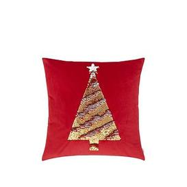 image-Catherine Lansfield Sequin Christmas Tree Cushion