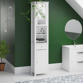 image-40 x 190cm Mirrored Free Standing Tall Bathroom Cabinet Brambly Cottage