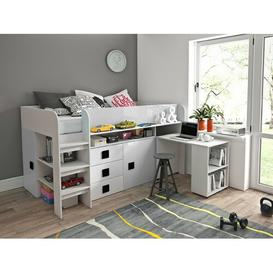 image-Ewing European Single Mid Sleeper Bed with Furniture Set Isabelle & Max Bed Frame Colour: White/Black