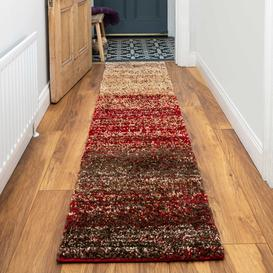 image-Red Striped Mottled Shaggy Hall Runner Rug - Murano