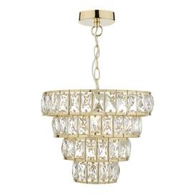 image-Dar CER0135 Cerys 1 Light Ceiling Pendant In Gold And Crystals