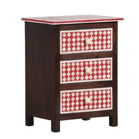 image-Beacsfield 3 Drawer Chest Ebern Designs Colour (Body/Drawers): Brown/Red