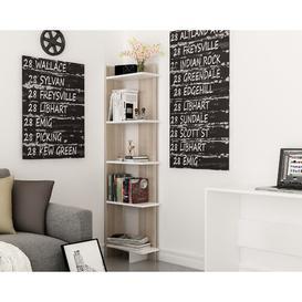 image-Lynnfield Corner Bookcase Zipcode Design Colour: White/Cordoba, Size: 170.18cm H x 45.72cm W x 22.86cm D