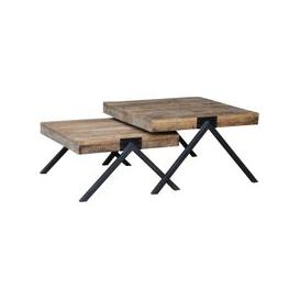 image-Renton Industrial Reclaimed Oak Square Nest of 2 Tables