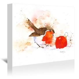 image-'Splashy Robin and Bauble' by Rachel McNaughton - Art Print East Urban Home Size: 41 cm H x 51 cm W, Format: Wrapped Canvas