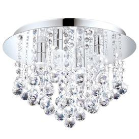 image-Eglo 97699 Almonte Semi Flush Bathroom Light In Chrome And Crystals - Dia: 500mm