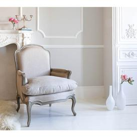 image-Normandy French Upholstered Armchair - Pale Stone French...