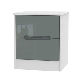 image-Monaco High Gloss Grey and White Bedside Cabinet - 2 Drawer Locker