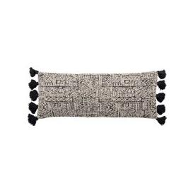 image-Oversized Textured Cushion with Tassels, Black and Cream