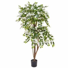 image-Artificial Bougainvillea Flowering Tree Bloomsbury Market Flower/Leaves Colour: White/Green