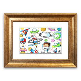 image-'Space Kid' Framed Graphic Art East Urban Home Size: 93 cm H x 126 cm W, Frame Options: Gold