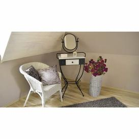 image-Marczi Dressing Table with Mirror Rosalind Wheeler Colour: Black/Spruce White