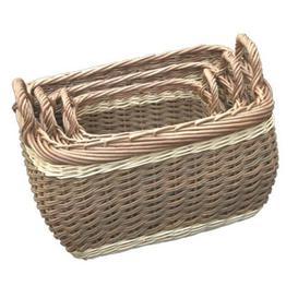 image-Three Tone Storage Log Wicker 3 Piece Basket Set Brambly Cottage