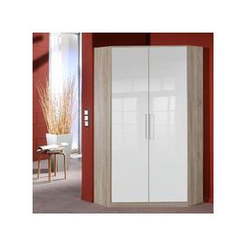 image-Bruce Corner Wardrobe In Oak Effect White High Gloss Fronts