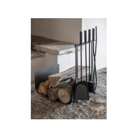 image-Log Holder & Four Piece Fireside Set