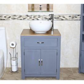 image-Shelby Solid Oak 70mm Free-Standing Vanity Unit August Grove Base Finish: Grey