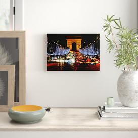 image-'Paris Arc De Triomphe Night Lights' Photograph on Wrapped Canvas East Urban Home Size: 35.6 cm H x 50.8 cm W