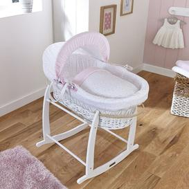 image-Stars and Stripes Moses Basket Clair De Lune Finish: White, Colour: Pink