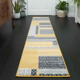image-Yellow Grey Patchwork Hallway Runner Rug - Milan