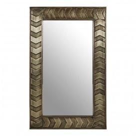 image-Siros Rectangular Wall Bedroom Mirror In Weathered Brown Frame