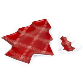 image-Set of 2 Highland Tartan Christmas Tree Plates