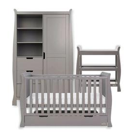 image-Stamford Cot Bed 3-Piece Nursery Furniture Set Obaby Colour: Taupe Grey