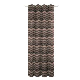 image-Burbach Eyelet Blackout Single Curtain Brayden Studio Curtain colour: Brown/Black/Grey, Size: 175cm H x 132cm W