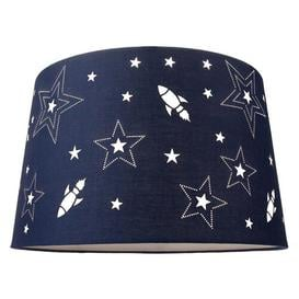 image-Fun Rockets And Stars Childrens/Kids Blue Cotton Bedroom Pendant Or Lamp Shade By Isabelle & Max Isabelle & Max
