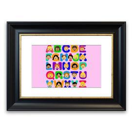 image-'Alphabet Children' Framed Graphic Art in Pink East Urban Home Size: 30 cm H x 40 cm W, Frame Options: Black