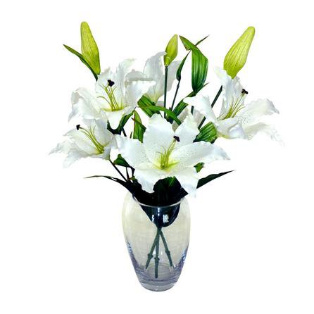 image-Artificial Lilies White in Glass Vase 68cm White