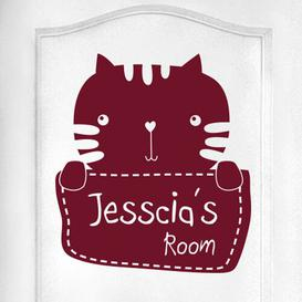 image-Personalised Kitty Rabbit Kids Door Room Wall Sticker Happy Larry Colour: Burgundy