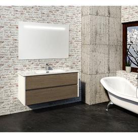 image-Adeliza 1200mm Wall Mounted Vanity Unit Belfry Bathroom Base Finish: Light Oak/White