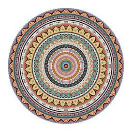 image-PODEVACHE - Mandala Round Vinyl Floor Mat - Multi