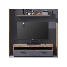 image-Tailor LED TV Stand With Wall Shelf In Pale Wood And Matera