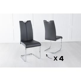 image-Set of 4 Nikko Black Faux Leather Dining Chair