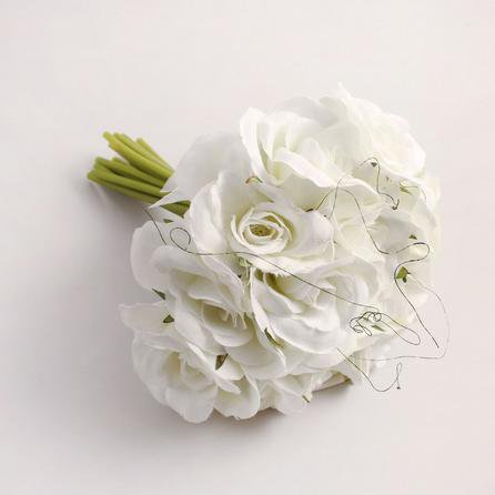 image-6pk Artificial Rose Cream Bouquet 21cm Cream
