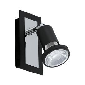 image-Eglo 94963 Sarria 1 Light Wall Spotlight In Black And Chrome