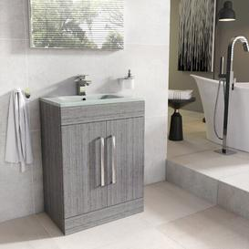 image-Aparicio 600mm Free-standing Vanity Unit Mercury Row Base Finish: Grey Wood