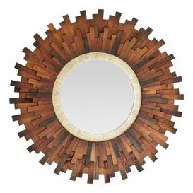 image-Exotic Sunburst Design Wall Bedroom Mirror In Natural Dark Frame
