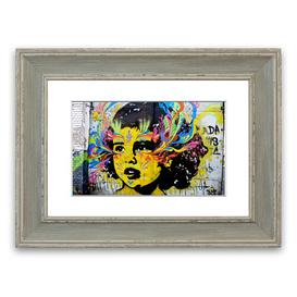image-'Flower Child' Framed Graphic Art East Urban Home Size: 40 cm H x 50 cm W, Frame Options: Blue