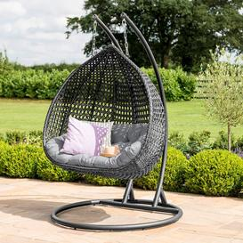 image-Maze Rattan Garden Furniture Rose Grey Outdoor Hanging Chair