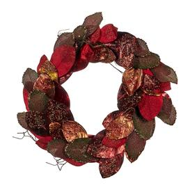 image-AMARA Christmas - Metallic Magnolia Leaf Wreath - Red/Brown